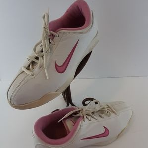 White and pink Nike Air lace up Sneakers US9